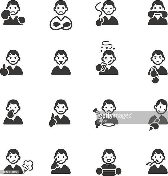 Bad habits and behavior icons