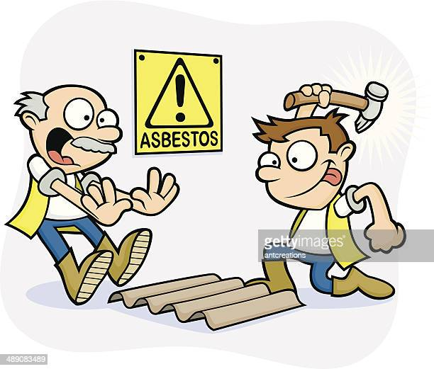 bad health and safety workmen - danger asbestos - asbestos stock illustrations, clip art, cartoons, & icons