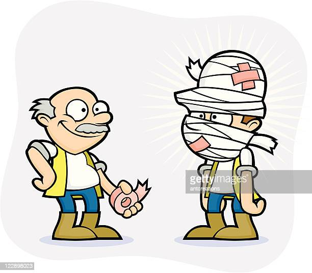 bad health and safety workmen - first aid bandage - occupational safety and health stock illustrations, clip art, cartoons, & icons