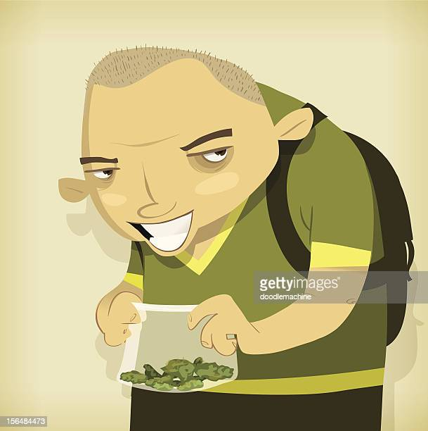 bad kid, with a bag of weed - drug dealer stock illustrations