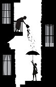bad neighbor, tricks of a neighbor, woman poor the water from the balcony on the young woman downstairs, life in the city scene silhouettes, vector