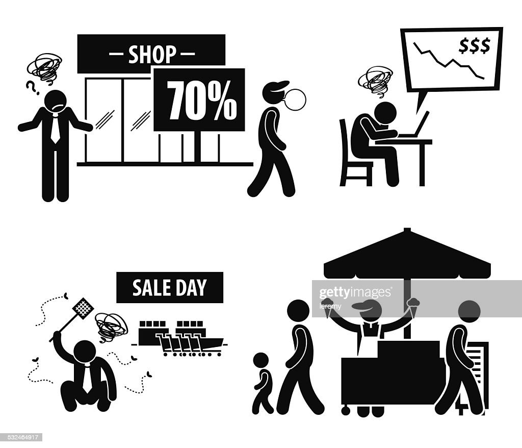 Bad Poor Business Day Stick Figure Pictogram Icons