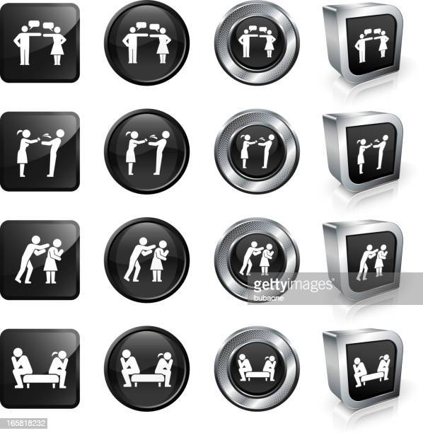 Bad Relationship and Breakup royalty free vector button set