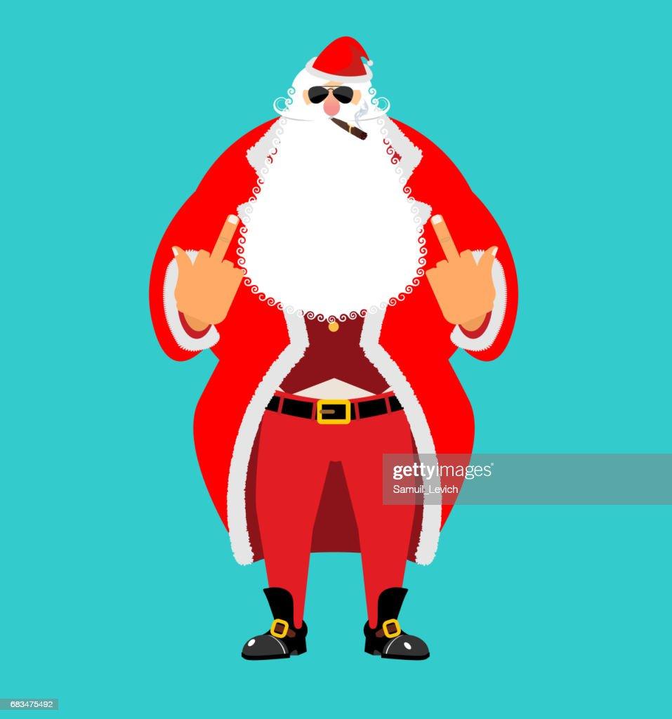 Bad Santa shows to fuck. Angry Claus. Not good Christmas old man. Aggression sign. Nasty guy for new year. Xmas bully