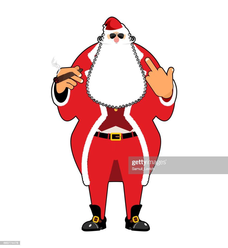Bad Santa with cigar and fuck. Angry drunk Claus. Harmful Christmas ruffian. Aggression sign. foul guy for new year. Xmas hooligan