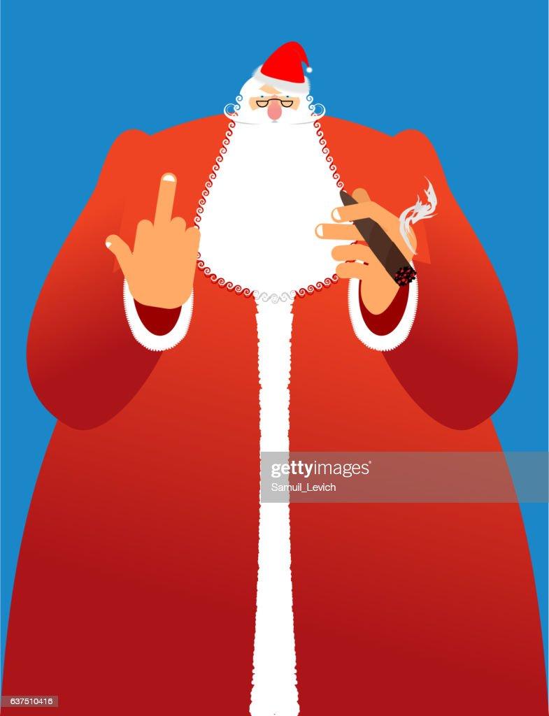 Bad Santa with cigar and fuck. Angry drunk Claus. Harmful