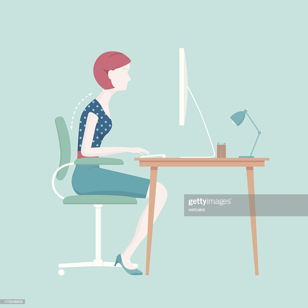 Bad Sitting Posture : stock illustration