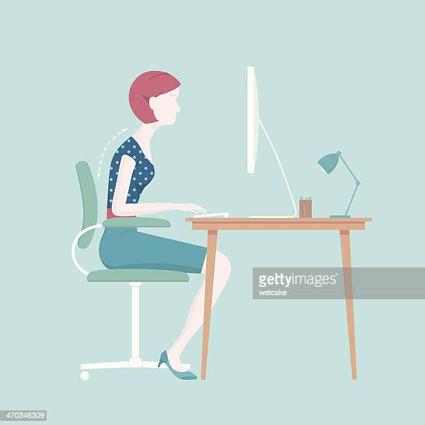 bad sitting posture - office safety stock illustrations, clip art, cartoons, & icons