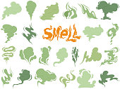 Bad smell. Steam smoke clouds of cigarettes or expired old food vector cooking cartoon icons