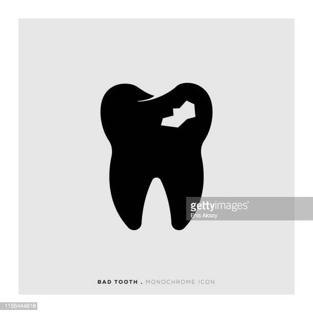 bad tooth icon - broken stock illustrations, clip art, cartoons, & icons