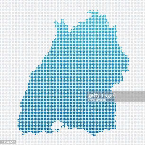 baden-württemberg karte blau gepunktet - baden württemberg stock-grafiken, -clipart, -cartoons und -symbole