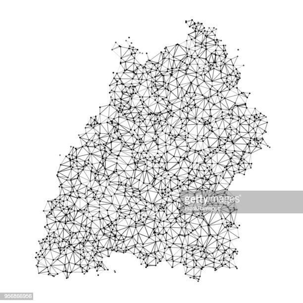 baden-württemberg karte netzwerk schwarz / weiß - baden württemberg stock-grafiken, -clipart, -cartoons und -symbole
