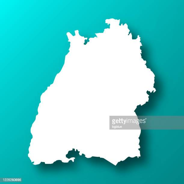baden-wurttemberg map on blue green background with shadow - baden württemberg stock illustrations