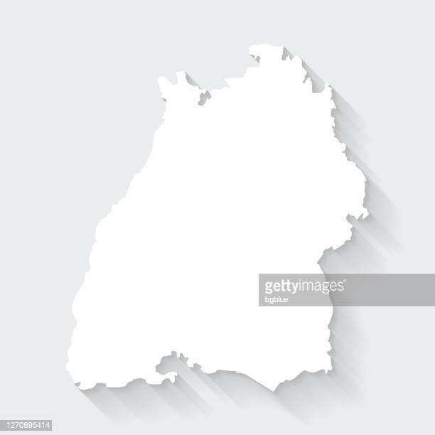 baden-wurttemberg map with long shadow on blank background - flat design - baden württemberg stock illustrations