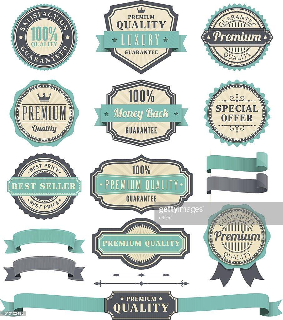Badge and Ribbon Set : stock illustration