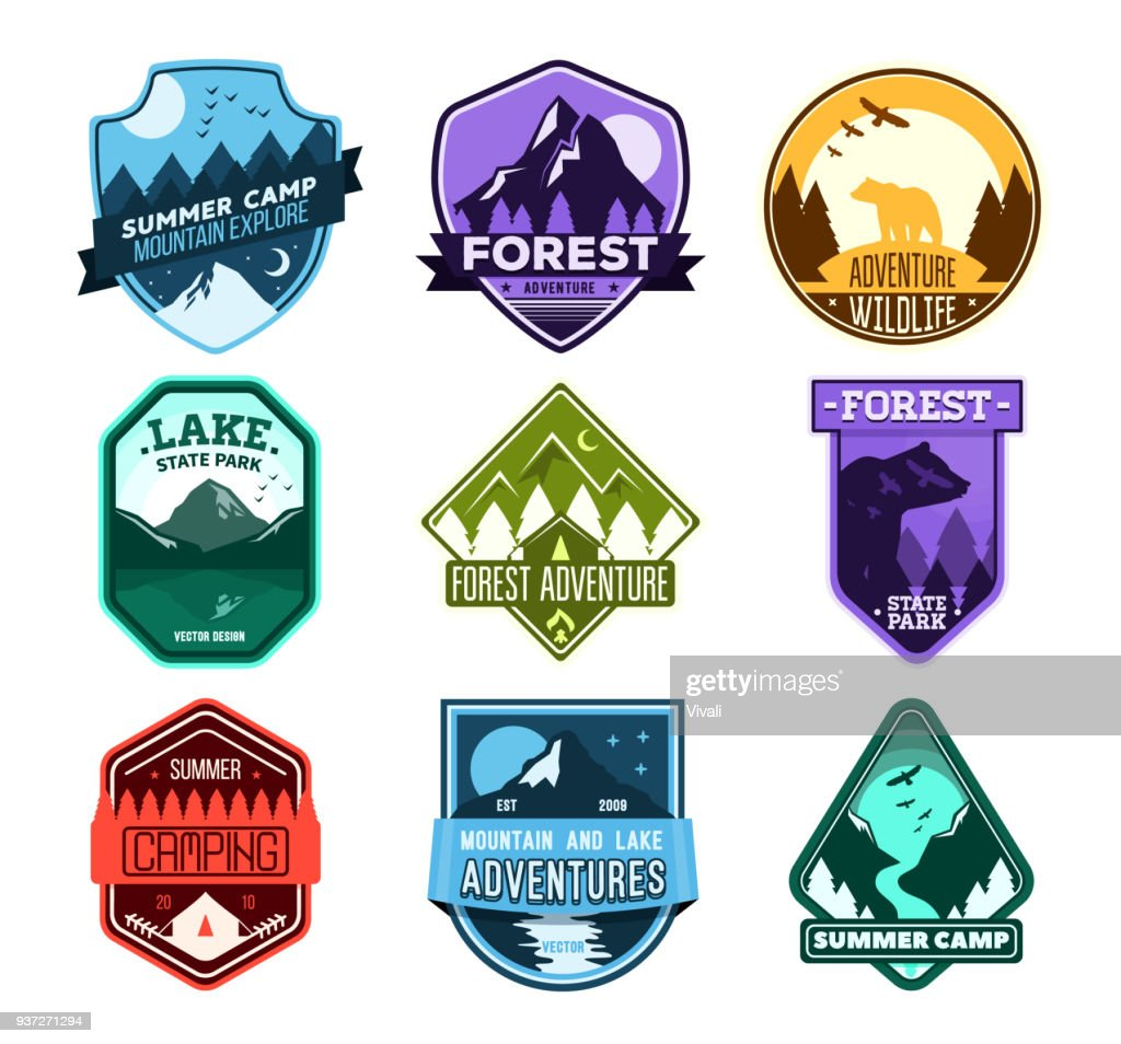 Badge for forest camping, exploration camp, tourism extreme sport club. Wild travel sticker