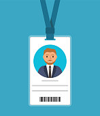Badge  of the man with a tie of the blonde in cartoon flat style.Identification card for man.ID card with man photo.