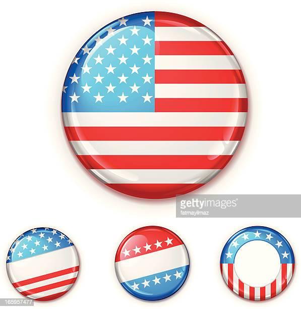 米国バッジセット - ブローチ点のイラスト素材/クリップアート素材/マンガ素材/アイコン素材