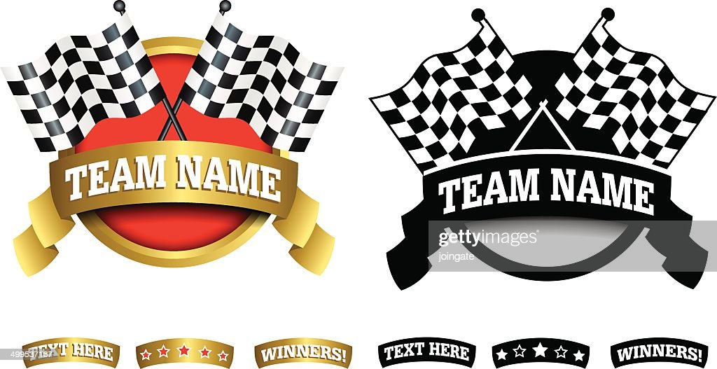 Badge, symbol or icon on white for motor racing