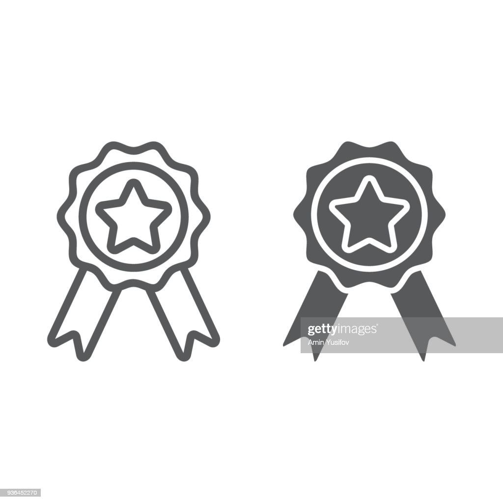 Badge with ribbons line and glyph icon, e commerce and award, quality sign vector graphics, a linear pattern on a white background, eps 10.