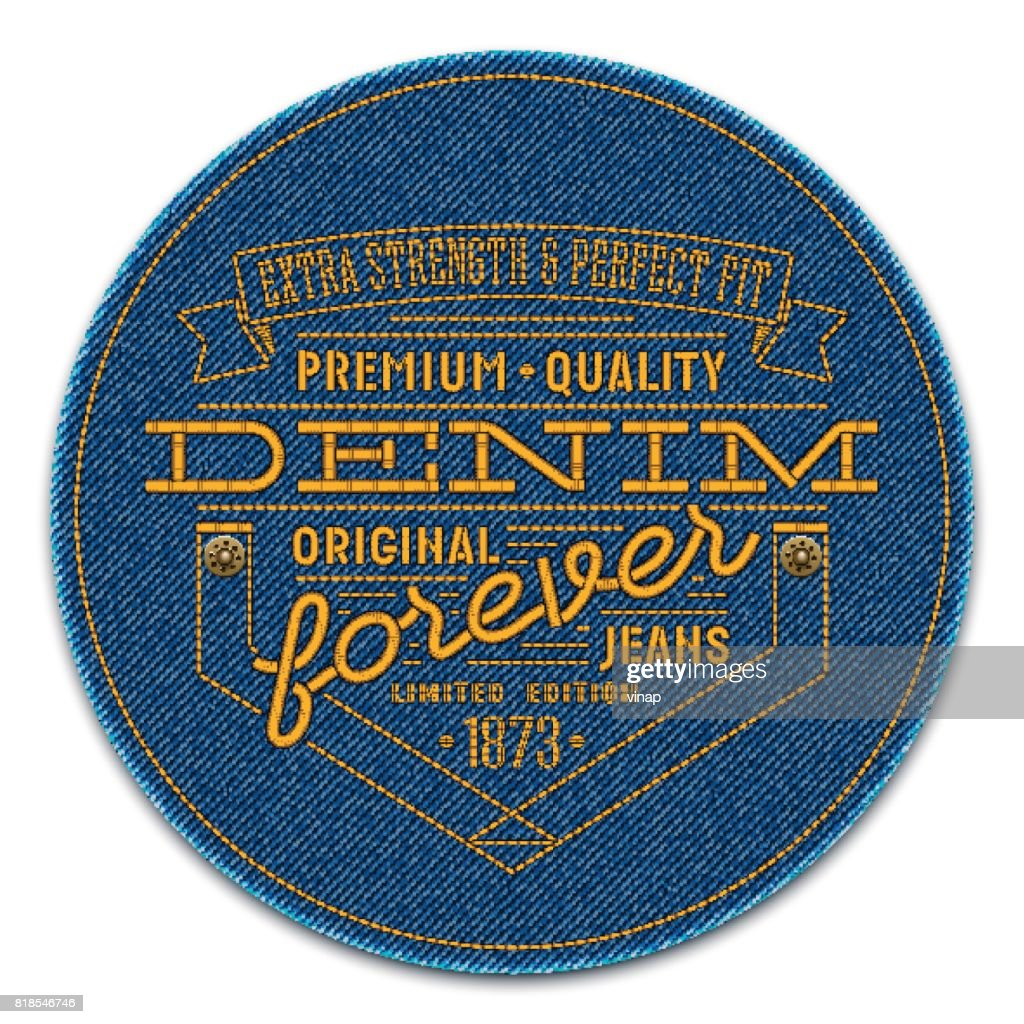 Badge with rivets and words embroidered on dark blue denim background. Vector realistic illustration.