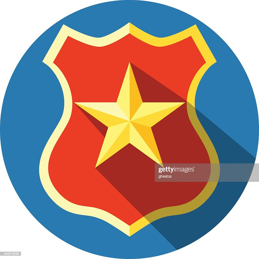 Badge with Yellow Star.Flat Icon