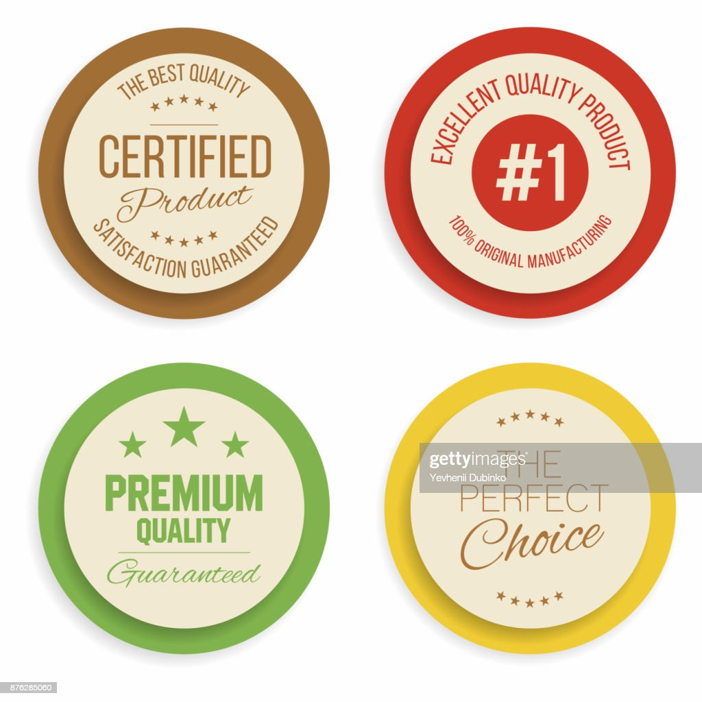 Badges and labels collection. Quality, assurance marks