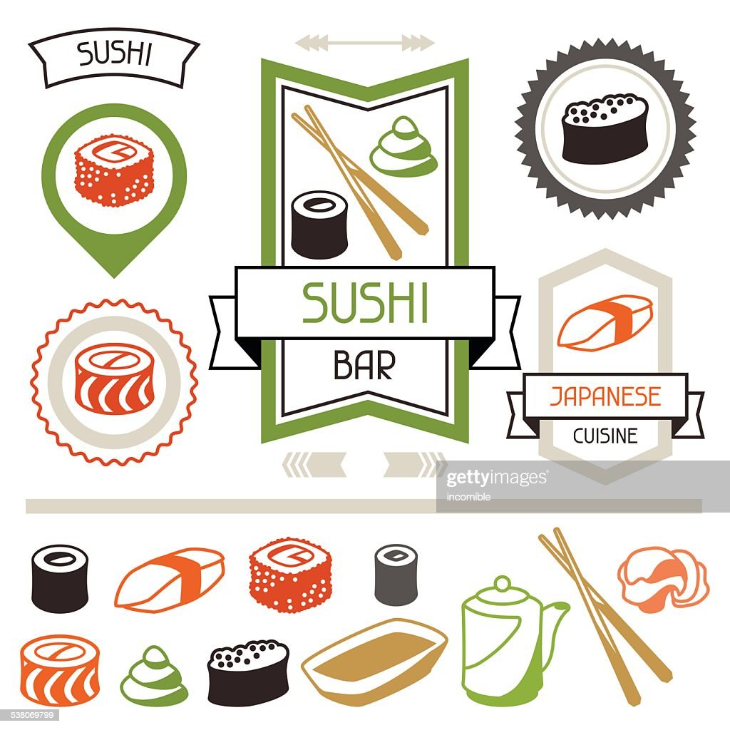 Badges and labels set with various sushi