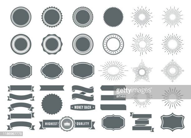 badges and sunburst element design collection. - carving craft product stock illustrations