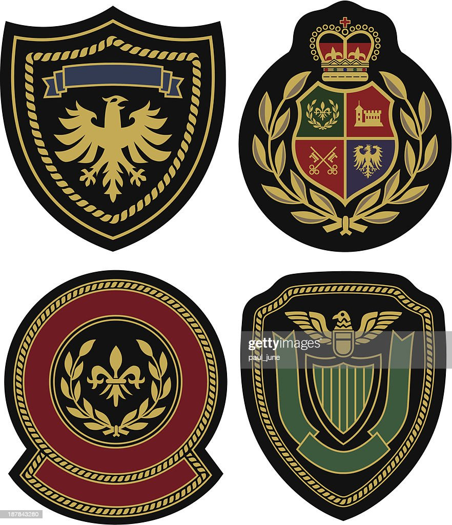 Badges displaying royal classic emblem designs