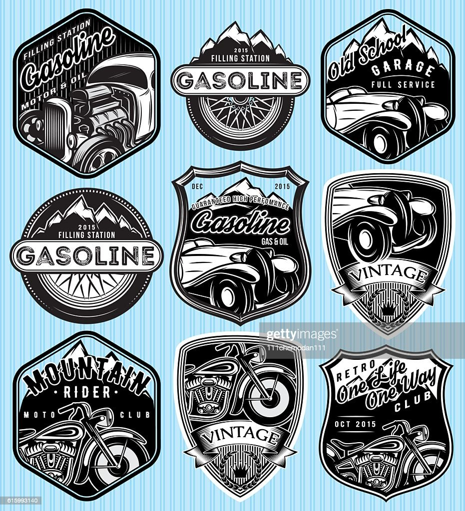 badges for advertising gasoline, retro cars or moto
