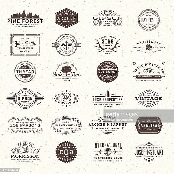 badges, labels and frames - retro style stock illustrations