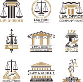 Badges of law and legal. Hammer of judge, legal code black illustrations of labels for jurisprudence. Legal notes vector pictures