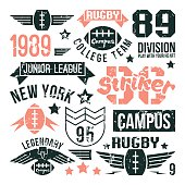 Badges set of the college rugby team