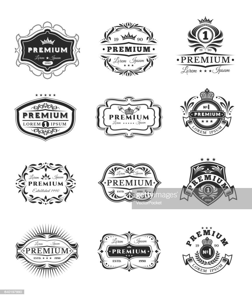 Badges, stickers premium quality isolated on white