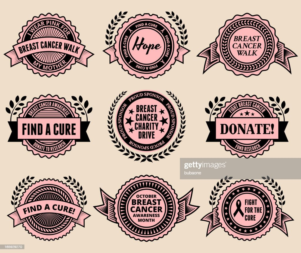 Badges That Support Breast Cancer Awareness Month High Res Vector
