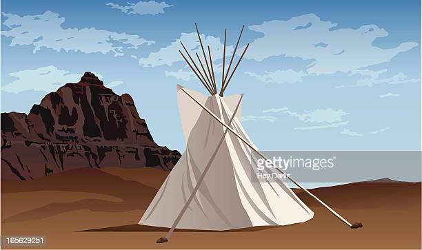 ilustraciones, imágenes clip art, dibujos animados e iconos de stock de badlands tipi - indios americanos sioux