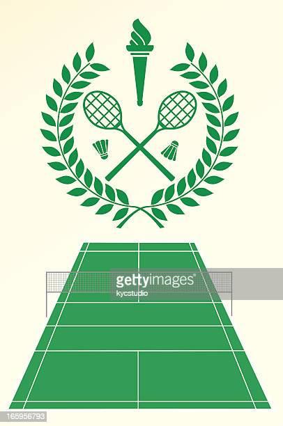 badminton emblem - badminton racket stock illustrations, clip art, cartoons, & icons
