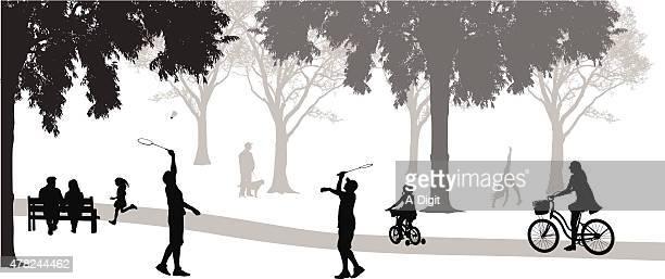 Bádminton en el parque