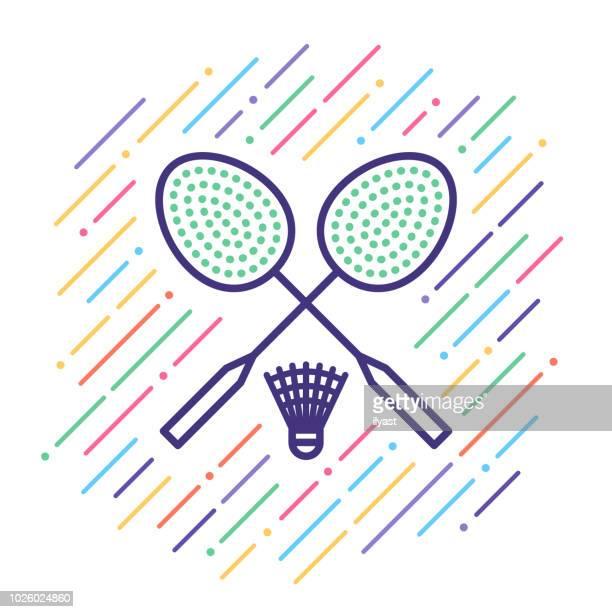 badminton line icon - badminton racket stock illustrations