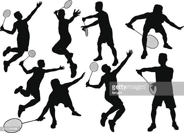 badminton player - badminton racket stock illustrations, clip art, cartoons, & icons