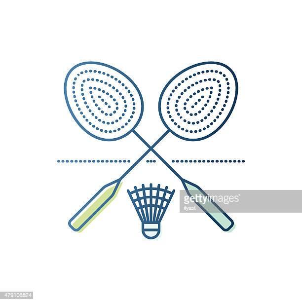 Badmintonschläger und Federball