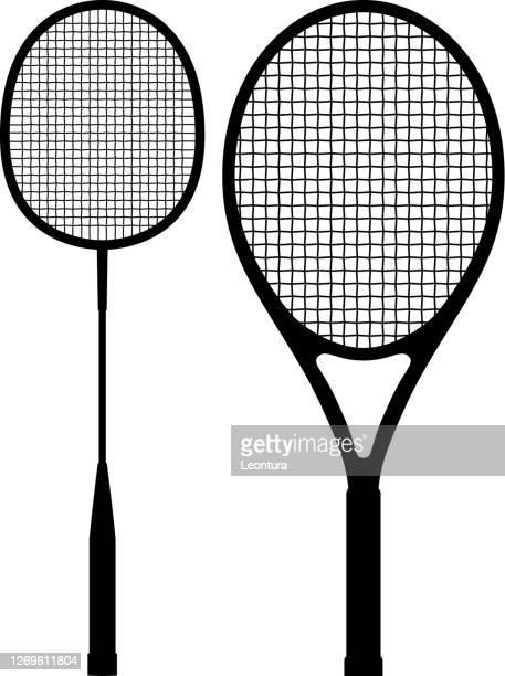 badminton racket and tennis racket silhouettes - badminton racket stock illustrations