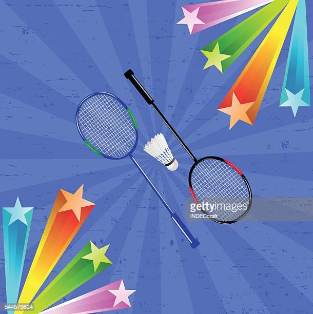 Badmintonschläger Federball mit Hintergrund
