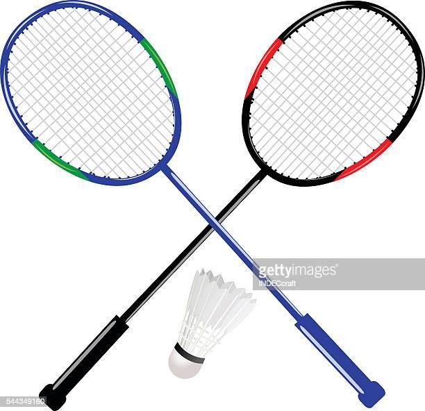 badminton racket with shuttlecock - badminton racket stock illustrations, clip art, cartoons, & icons