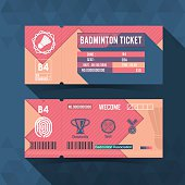Badminton Ticket Material Design. Vector illustration