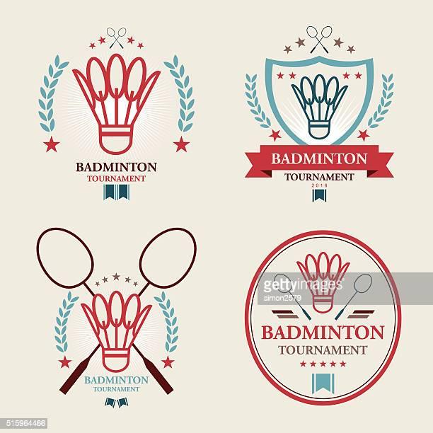 badminton tournament emblem set - badminton sport stock illustrations, clip art, cartoons, & icons
