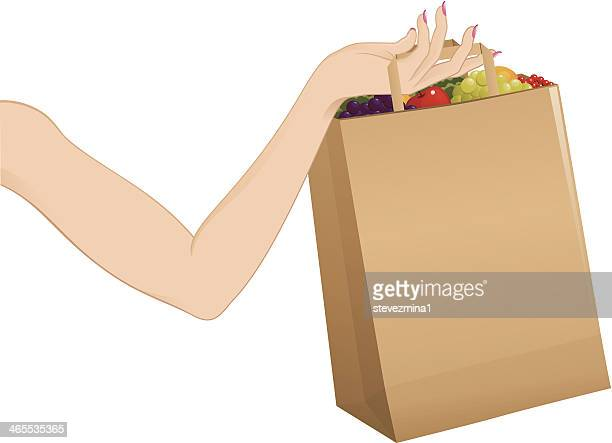 bag full of groceries - antioxidant stock illustrations, clip art, cartoons, & icons