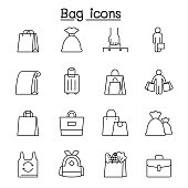 Bag icons set in thin line style