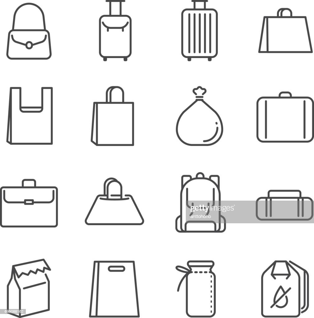 Bag line icon set. Included the icons as plastic bag, suitcase, baggage, luggage and more.